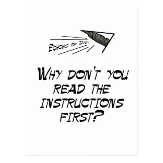 Read the instructions postcard