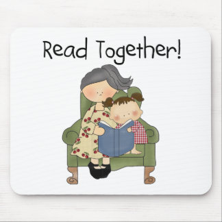 Read Together - Grandma and Girl Tshirts and Gifts Mouse Pads
