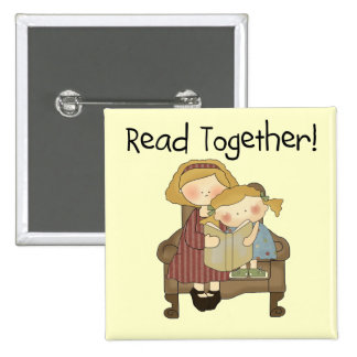 Read Together - Mom and Girl Tshirts and Gifts 15 Cm Square Badge