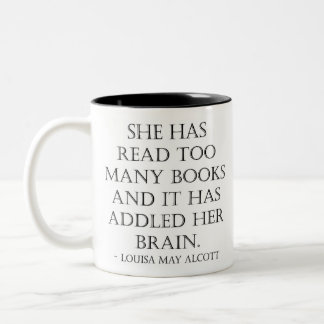 read too many books Two-Tone coffee mug