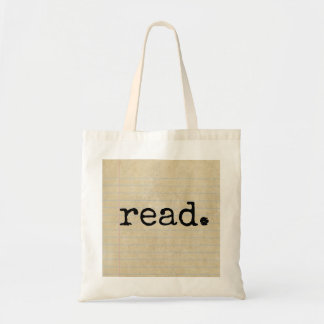 """read."" Typed on Vintage Note Paper Tote Bag"