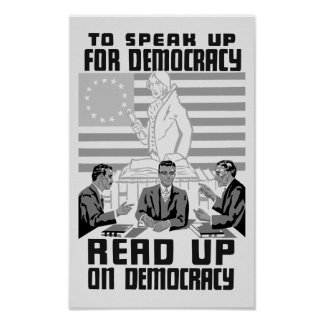 Read Up On Democracy - Vintage WPA Poster