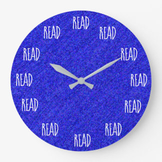 READ Word Design Fun Book Lovers Blue Large Clock