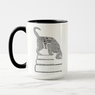 Reader Black Cat Mug in Retro Halftone Style