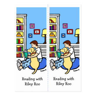 Reading Boy with a Yellow Labrador Bookmarks Roo Postcard