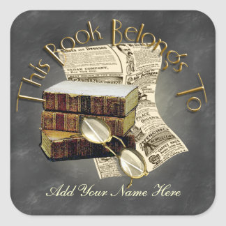 Reading Design Bookplate Square Stickers