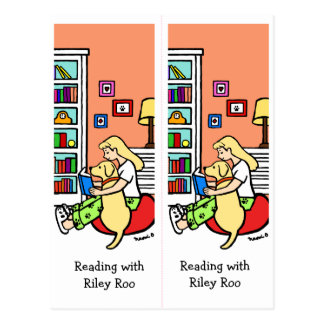 Reading Girl with a Yellow Labrador Bookmarks Roo Postcard