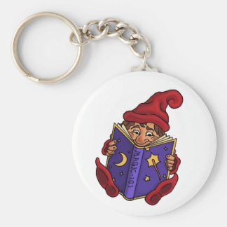 reading gnome funny keychain