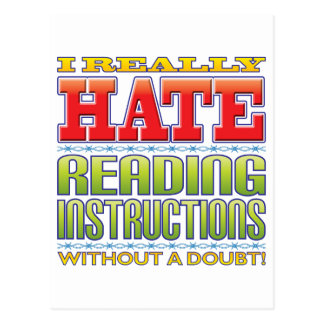 Reading Instructions Hate Postcard