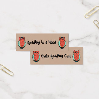 Reading is a Hoot Bookmarks Mini Business Card