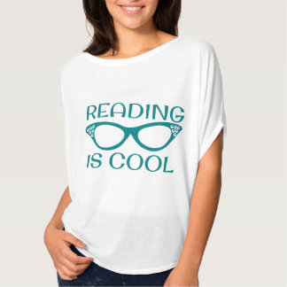 Reading is Cool T-shirt with Cat Eye Glasses Teal