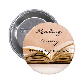 Reading is my super power 6 cm round badge