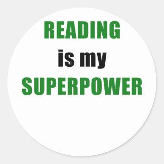Reading is my Superpower Classic Round Sticker