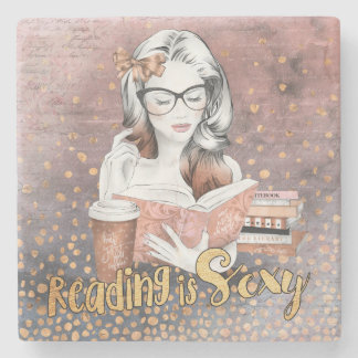 Reading is Sexy marble coaster