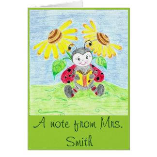 Reading ladybug teacher note card