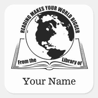 Reading Makes Your World Bigger Bookplate Square Sticker