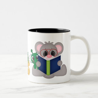 Reading Mouse cartoon coffee mug