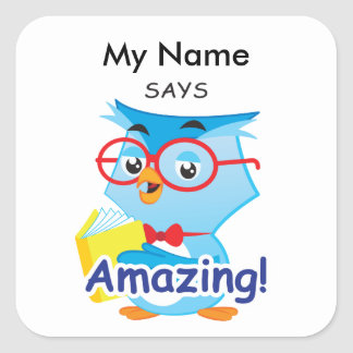 Reading Owl - Amazing! Square Sticker