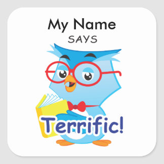 Reading Owl - Terrific! Square Sticker