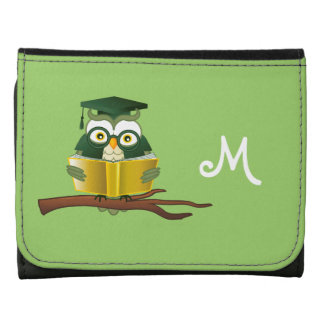 Reading Owl with Glasses Monogram Wallet