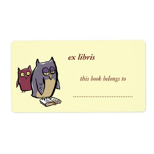 reading owls customisable exlibris