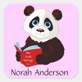 Reading Panda Bookplate Sticker