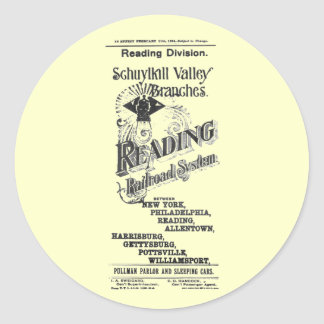 Reading Railroad System Timetable Cover 1894 Classic Round Sticker