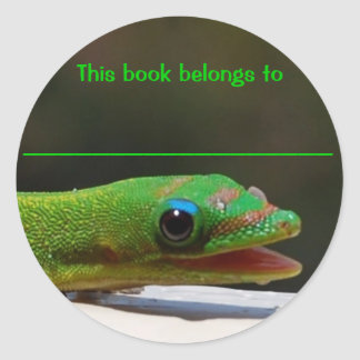 Reading Reptile This Book Belongs To Classic Round Sticker