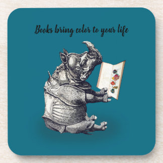 Reading Rhinoceros loves books Coaster