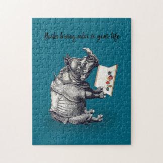 Reading Rhinoceros loves books Jigsaw Puzzle