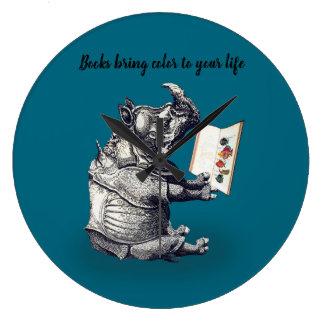 Reading Rhinoceros loves books Large Clock