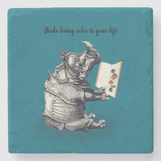 Reading Rhinoceros loves books Stone Coaster