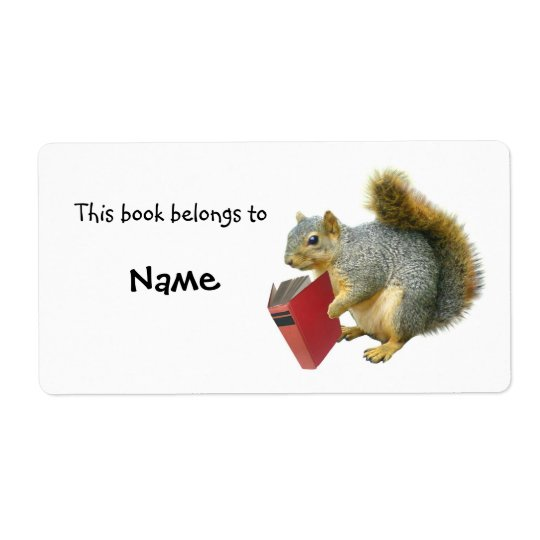 Reading Squirrel Book Plate Shipping Label