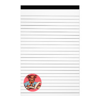 Reading Teddy Bear Lined Stationery