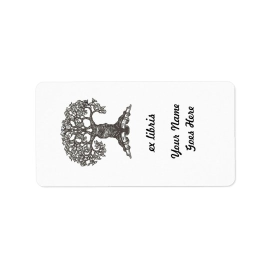 Reading Tree Rectangular Bookplate Label
