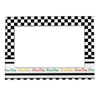 Ready 4 Race Day Classic Racing Check Black White Magnetic Picture Frame