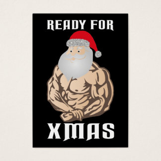 Ready for christmas muscle Santa Claus Business Card