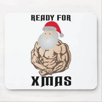 Ready for christmas muscle Santa Claus Mouse Pad