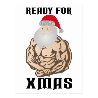 Ready for christmas muscle Santa Claus Postcard