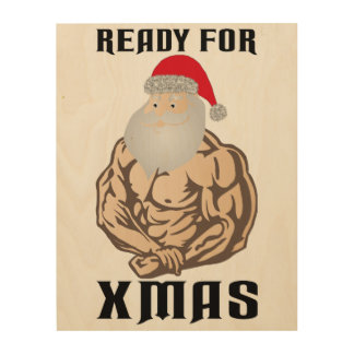 Ready for christmas muscle Santa Claus Wood Print