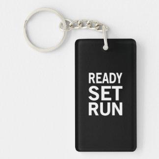 READY SET RUN Single-Sided RECTANGULAR ACRYLIC KEY RING