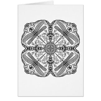 Ready to Color Dragonfly Mandala Greeting Card
