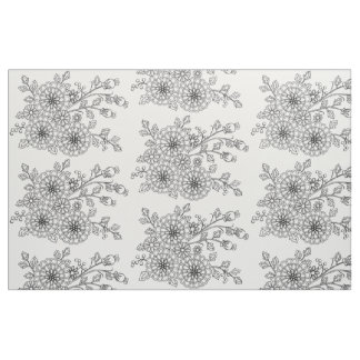 Ready to Color Fancy Floral Pattern Design Fabric