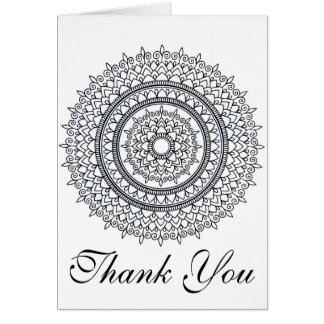 Ready To Color Intricate Mandala Thank You Card