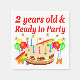 READY TO PARTY 2ND BIRTHDAY CAKE DESIGN DISPOSABLE NAPKINS