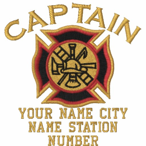 Ready to Personalize Captain Firefighter Badge Embroidered Polo Shirt
