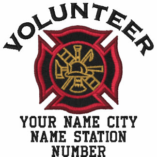 Ready to Personalize Volunteer Firefighter Badge Embroidered Shirts