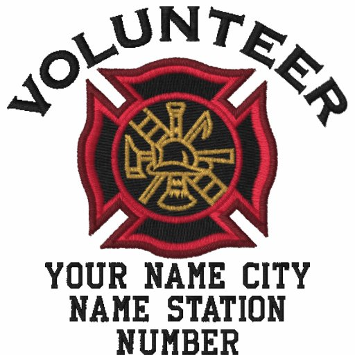 Ready to Personalize Volunteer Firefighter Badge Embroidered Polo Shirt