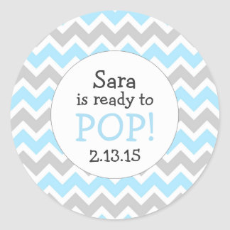 Ready to Pop Baby Shower Favor / blue chevron Classic Round Sticker