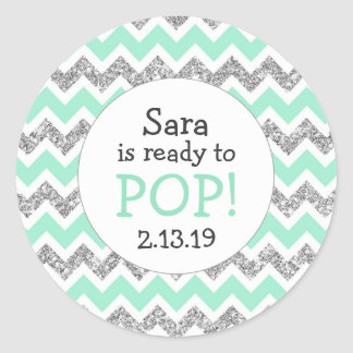 Ready to Pop Baby Shower Favor mint glitter Round Sticker